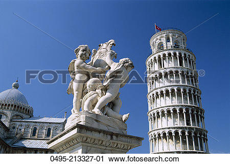 Stock Photography of Italy, Leaning Tower (Torre Pendente) 0495.