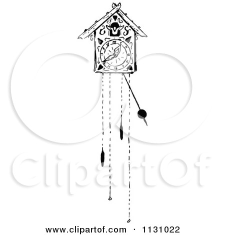 Clipart Of A Retro Vintage Black And White Pendulum With A Bow.