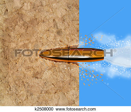 Stock Illustrations of Bullet penetrating a wooden surface.