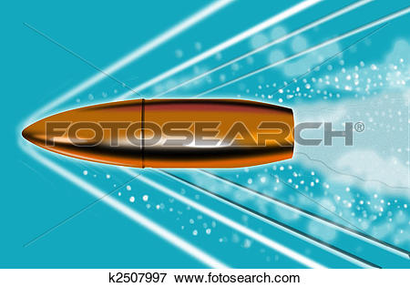 Stock Illustration of Bullet penetrating or traveling through.