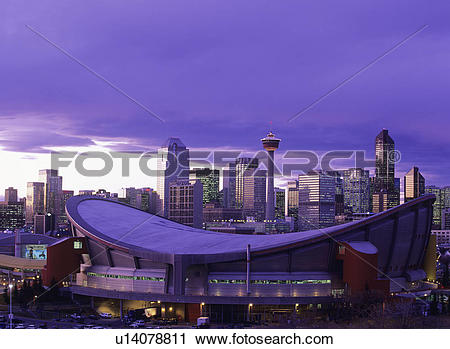 Stock Photography of Calgary Skyline at dusk with the Pengrowth.