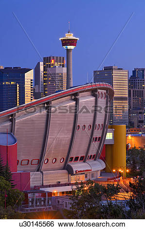 Stock Images of Calgary skyline with Calgary tower and ScotiaBank.