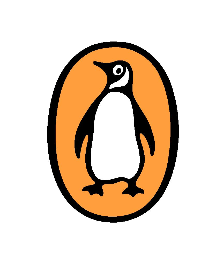 Penguin in Orange Oval Logo.