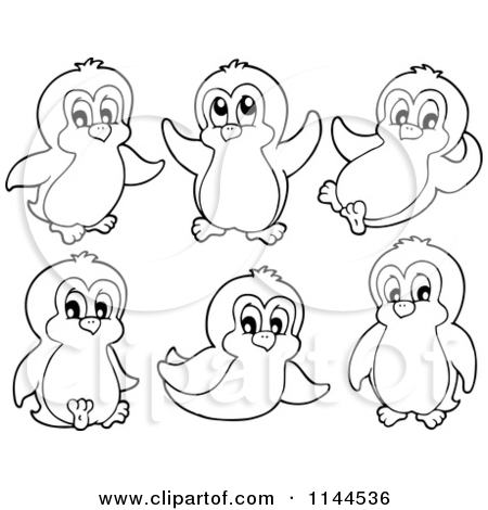 Cute Penguin Clipart Black And White.