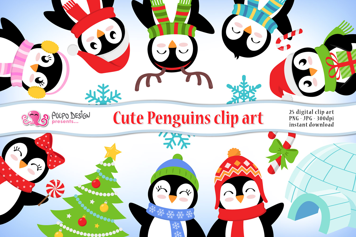 Cute Penguins clipart. 25 digital clip art..