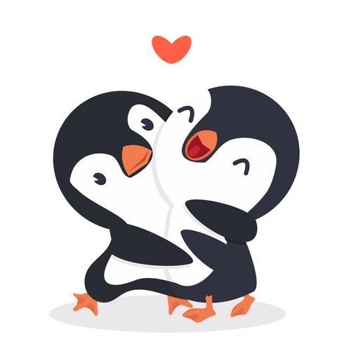 Cute Penguins happy Couple hug.