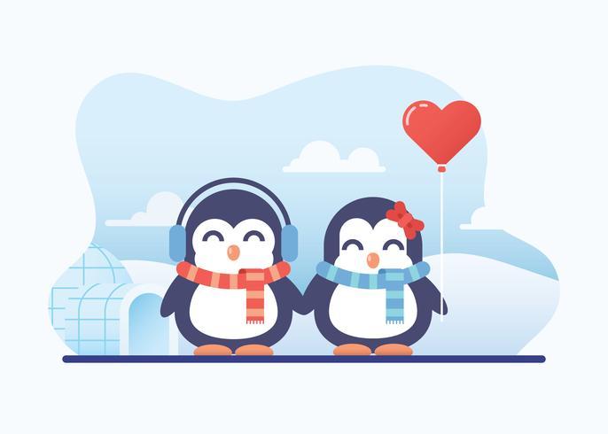Cute Penguin Couple In Love.