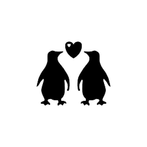 Penguin Couple Silhouette.