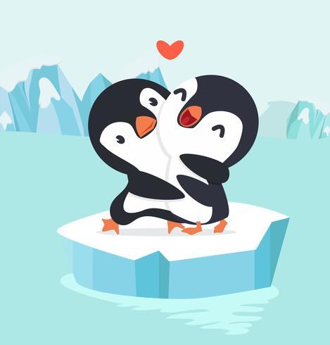 Penguin couple Hug in North pole Arctic.