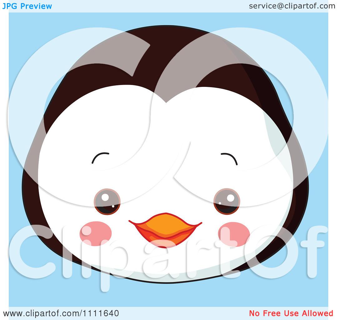 Clipart Cute Penguin Avatar Face On Blue.