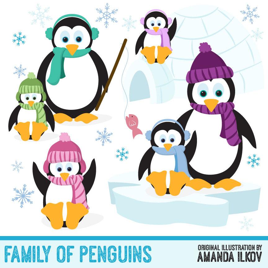 Christmas penguin family clipart.