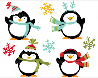 Christmas Penguin Family Clipart.