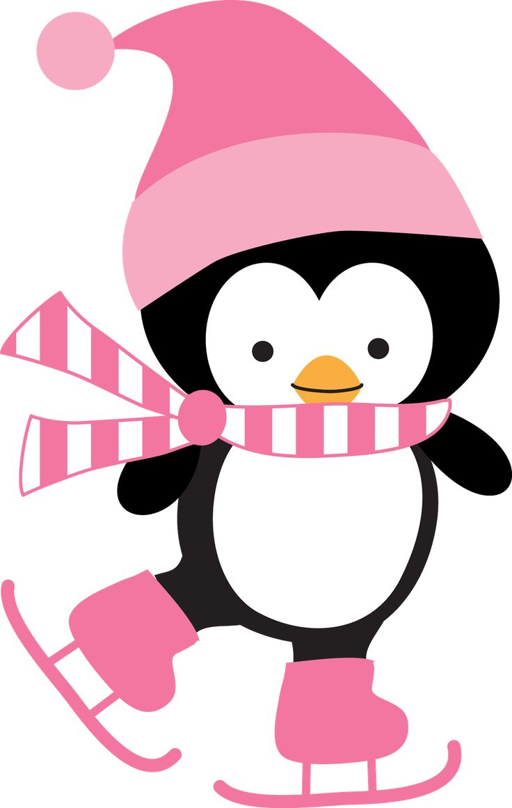 Penguin Ice Skating Clipart.