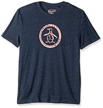 Original Penguin Men\'s Triblend Distressed Crew Circle Logo Graphic Tee.
