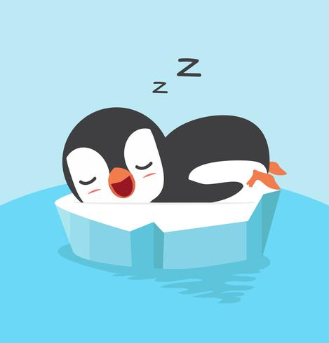 Cute penguin sleep on floating ice.