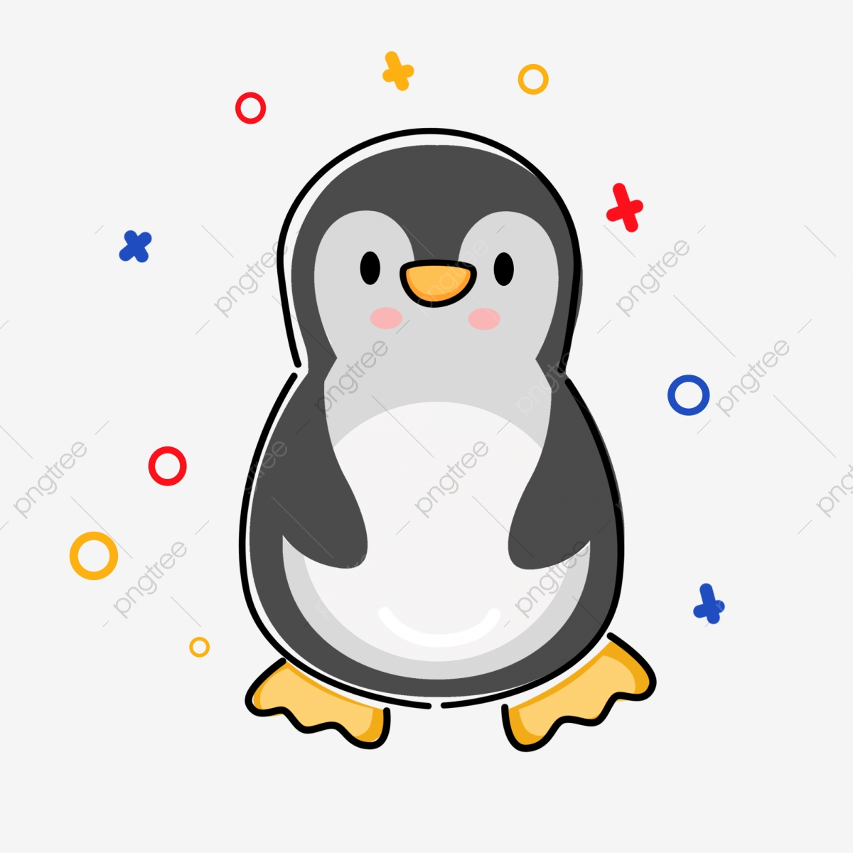 Hand Drawn Penguin Cute Penguin Staying Cute Penguin Cartoon.