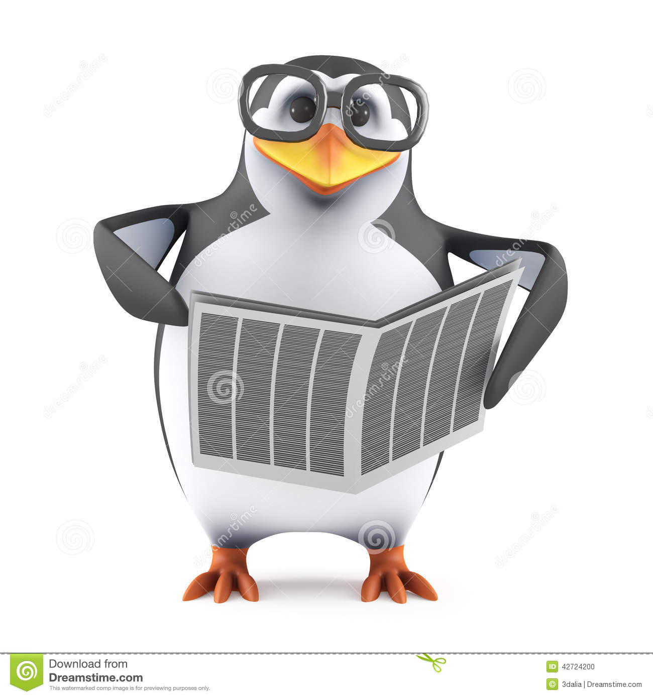 Cartoon Penguin Reading Stock Vector.