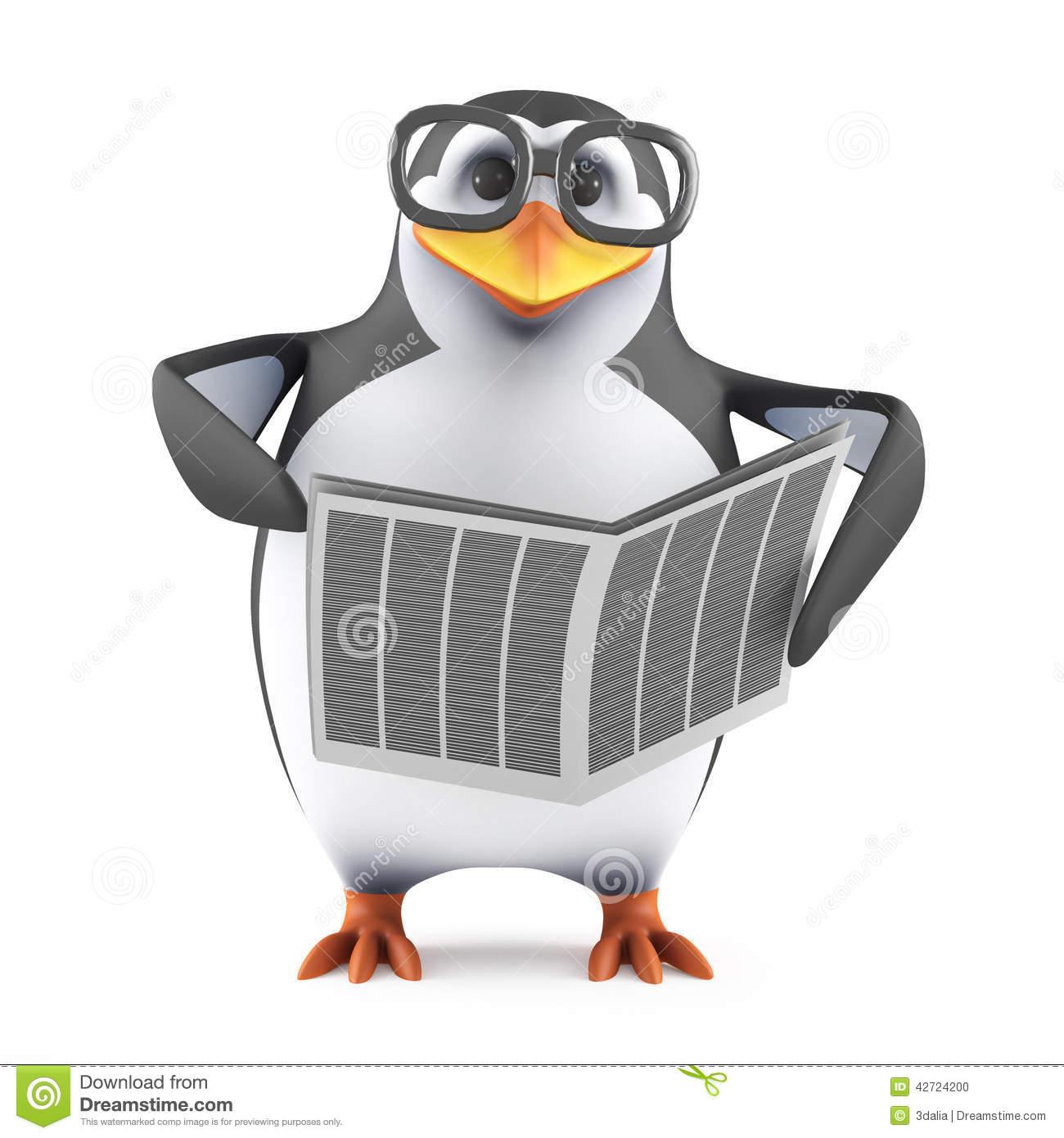 Cartoon Penguin Reading Stock Vector.