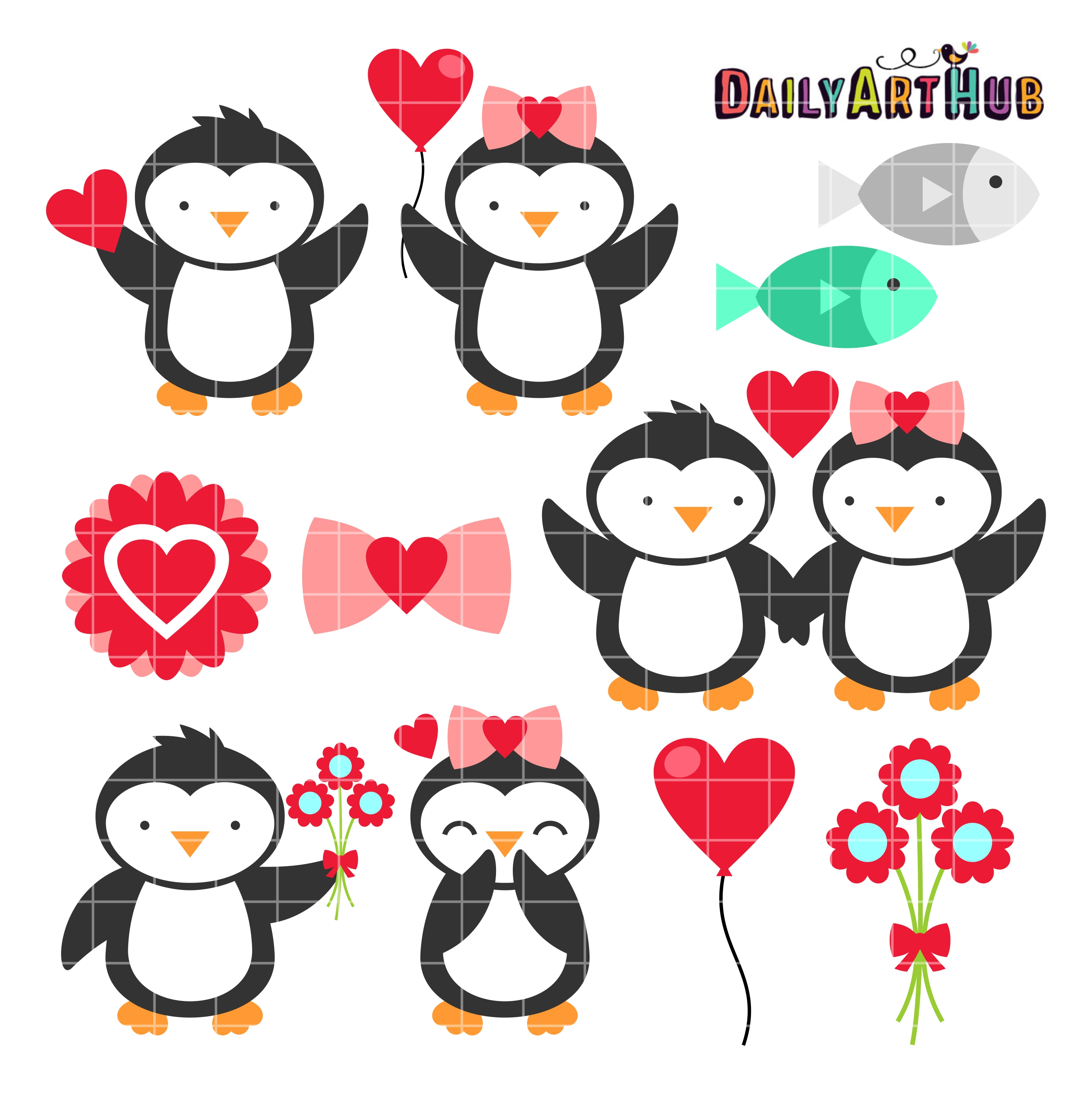 Valentine Penguins Clip Art Set.