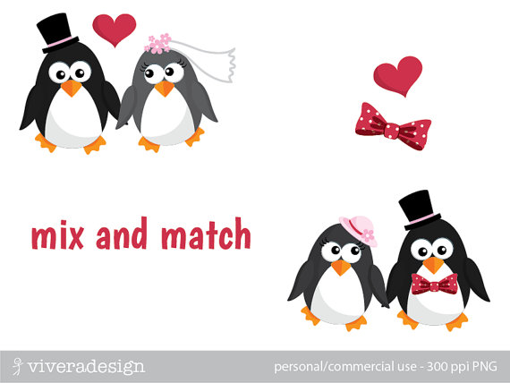 Penguin wedding clipart.