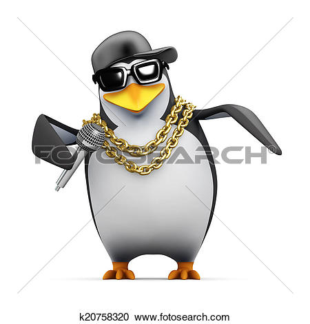 Stock Illustrations of 3d Rapper penguin tells it like it is.