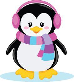 Christmas female penguins clipart.