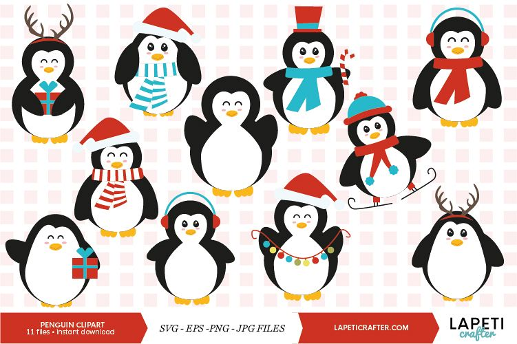 Christmas penguin clipart set, winter animals vector.