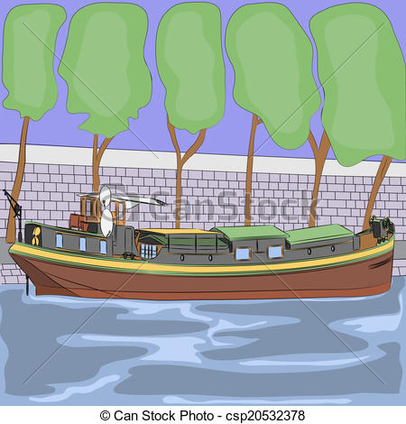Vectors Illustration of vector barge on the River Seine.