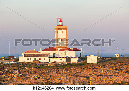 Stock Photo of Cape Carvoeiro lighthouse in Peniche, Portugal.