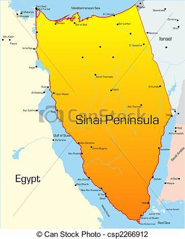 Vector Illustration of Sinai Peninsula.