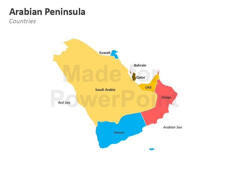 Arabian Peninsula Map.