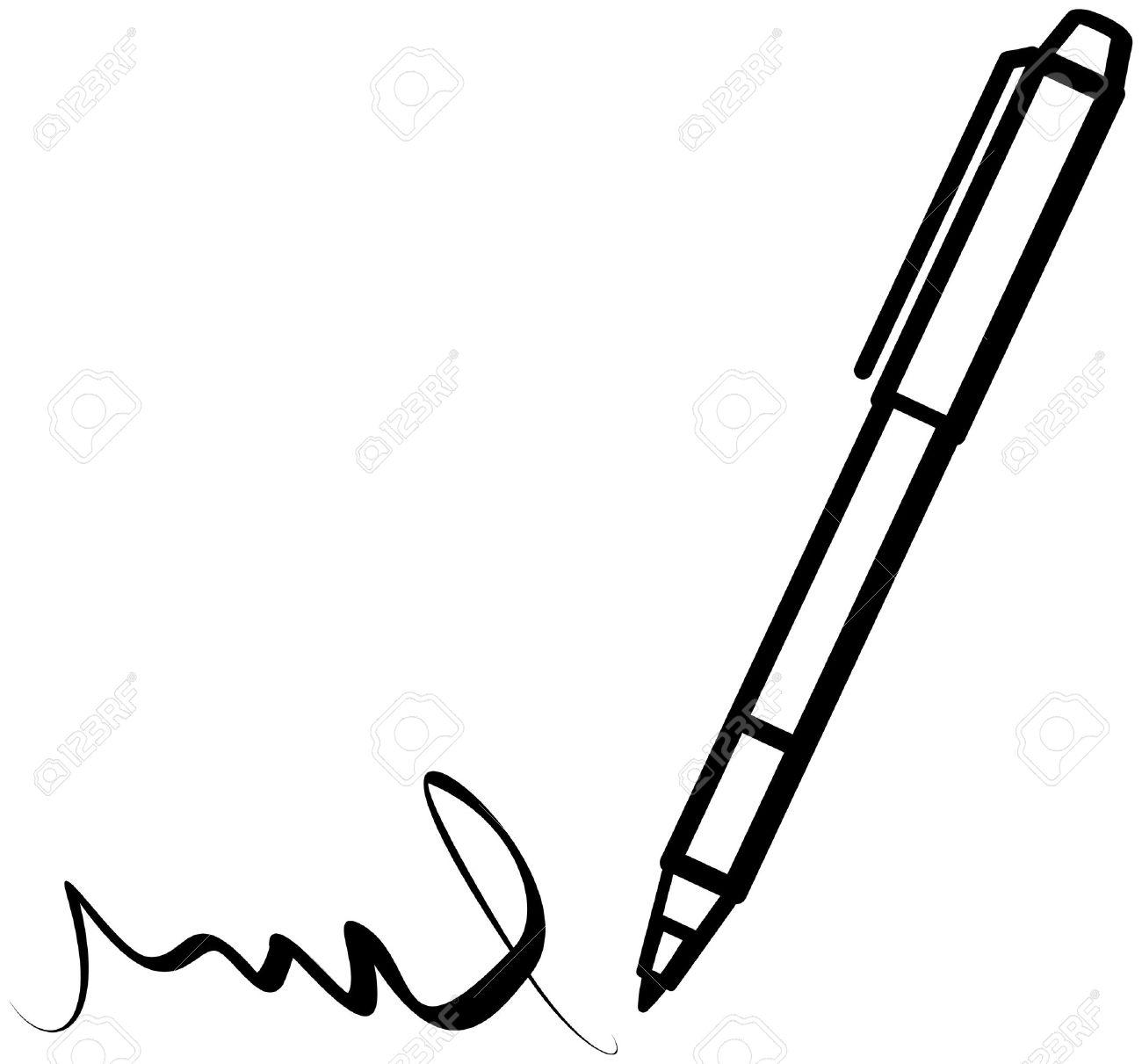 Scrittura Penna (Vector) Clipart Royalty.
