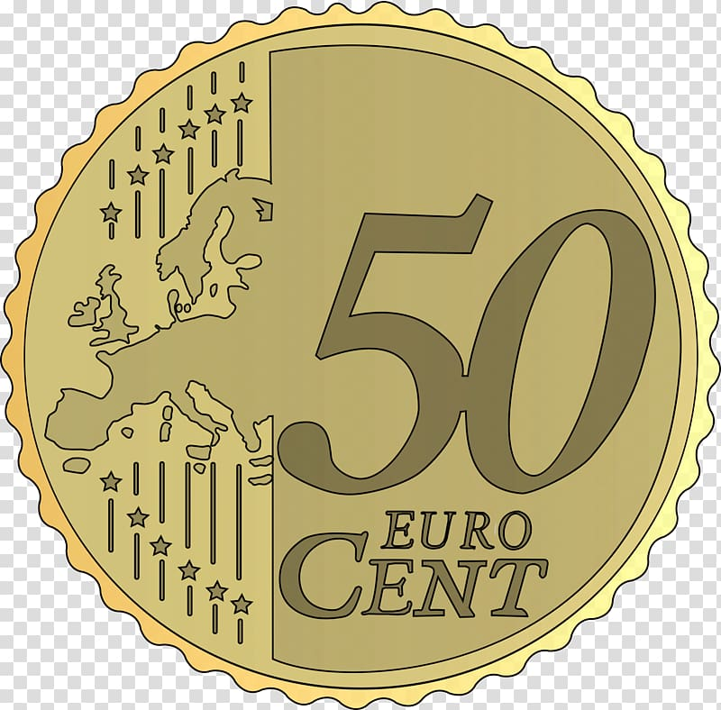 Cent euro coin Penny , 50 cents transparent background PNG.