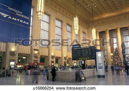 Stock Photo of Amtrak, train station, Philadelphia, Pennsylvania.