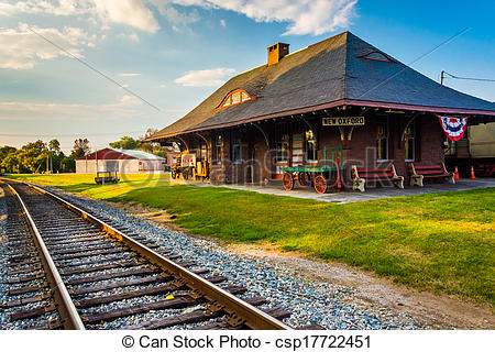 Stock Images of Railroad tracks and the train station in New.