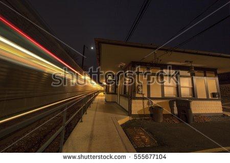 Night Scene Old Train Cars Winter Stock Photo 122947507.