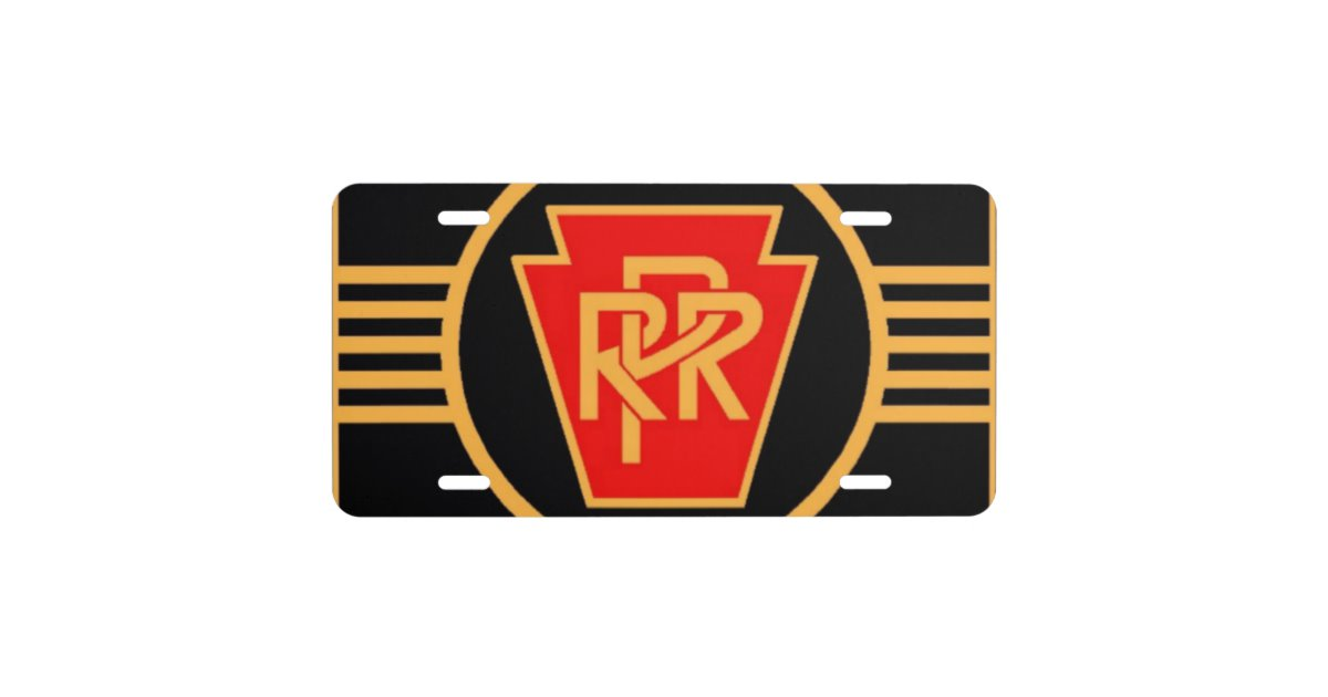Pennsylvania Railroad Logo, Black & Gold License Plate.