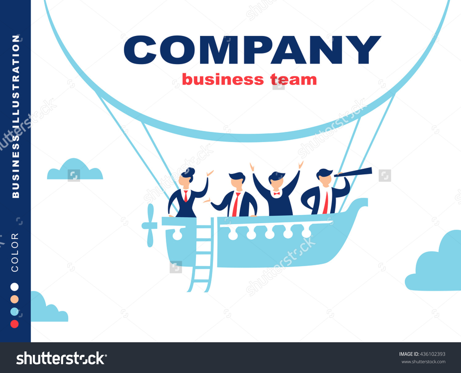 Team Of People Sailing On Ship In The Sky. Company Moving Forward.