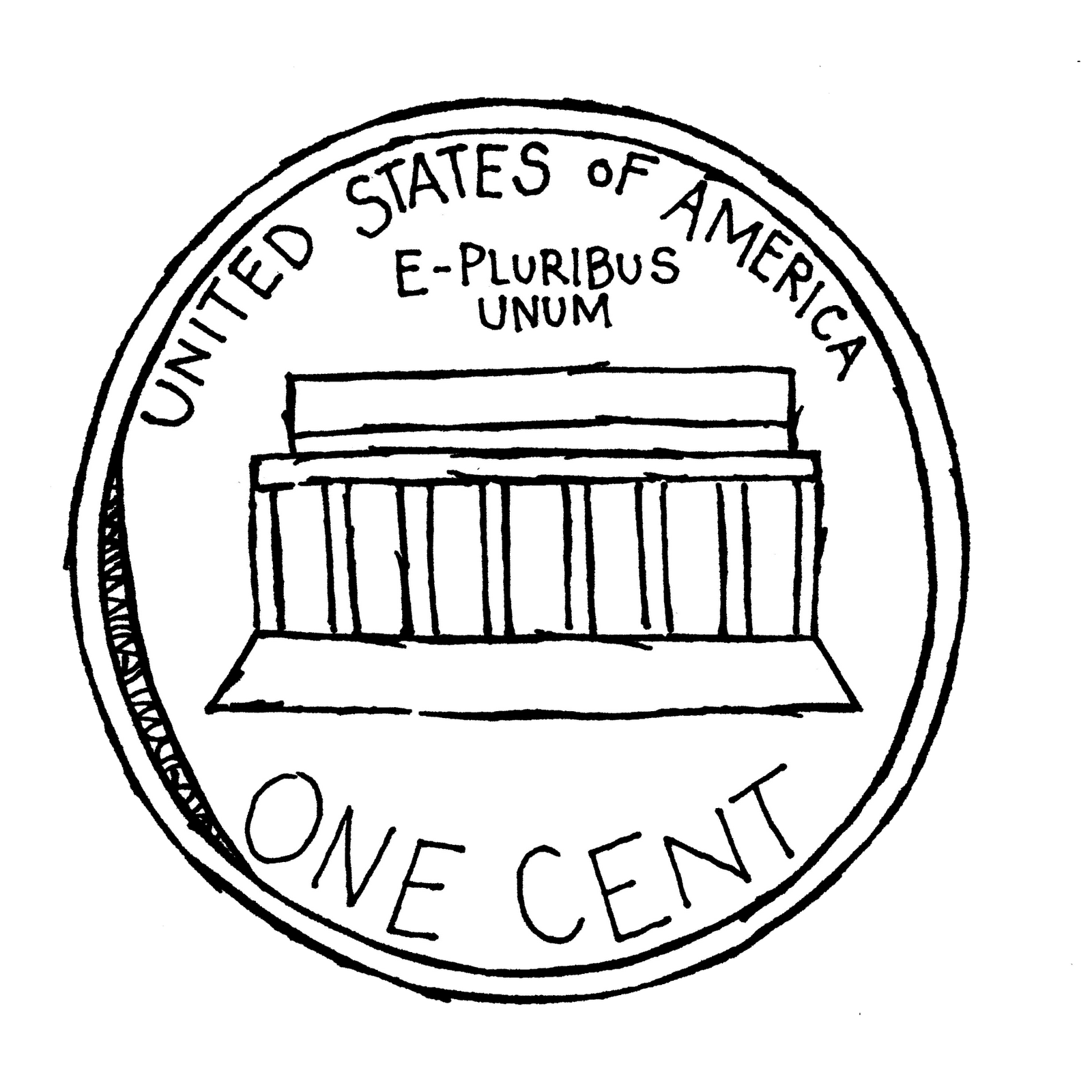 Free black and white penny clip art.