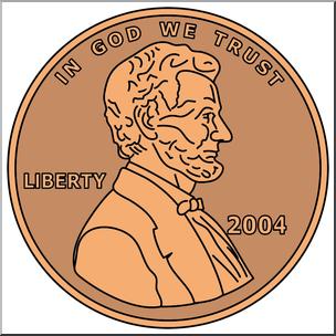 Clip Art: Penny Front Color I abcteach.com.