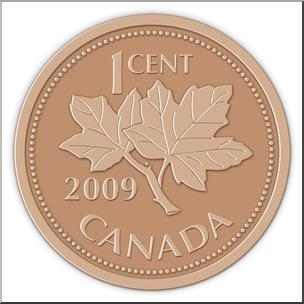 Clip Art: Canadian Money: Penny Color.