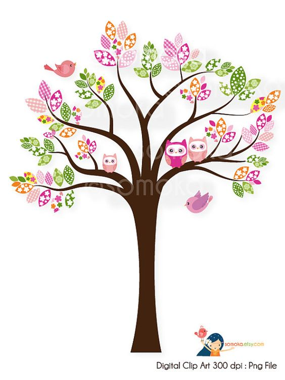 Sweet bird and tree clipart set with cute little owl.