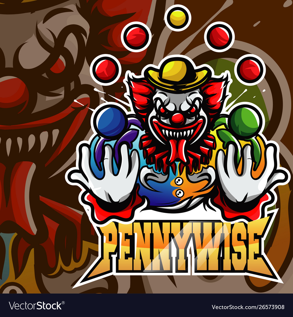 Pennywise clown mascot logo.