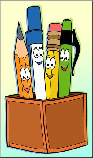 Clip Art: Cute Pen & Pencil Holder Color 1 I abcteach.com.