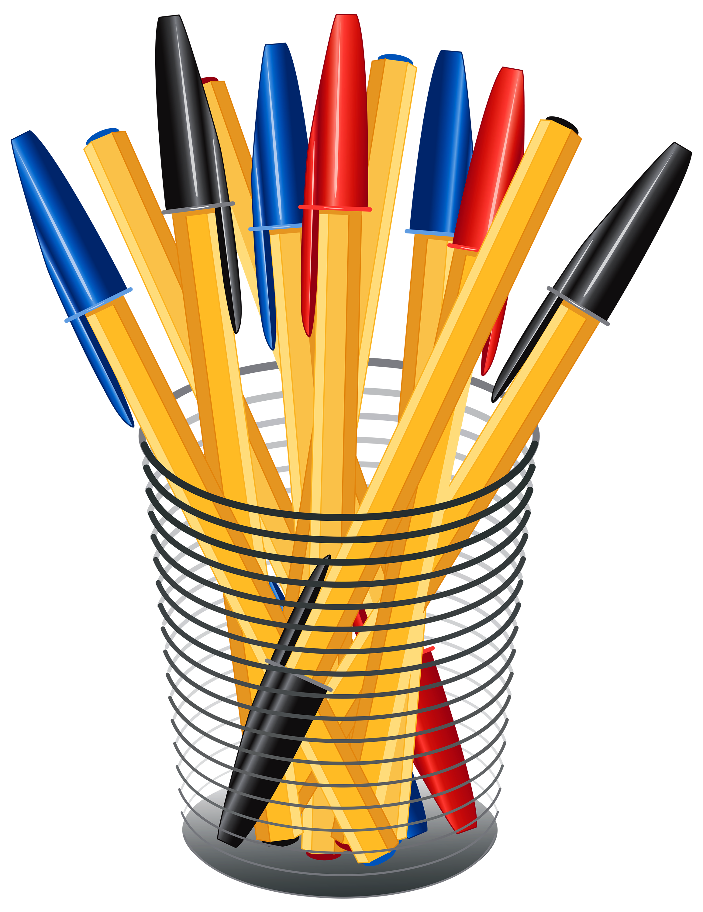 Metal Cup with Pens PNG Clip Art.