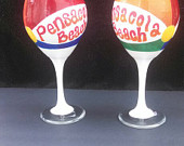 Items similar to Pensacola Beach Ball Wine Glass on Etsy.