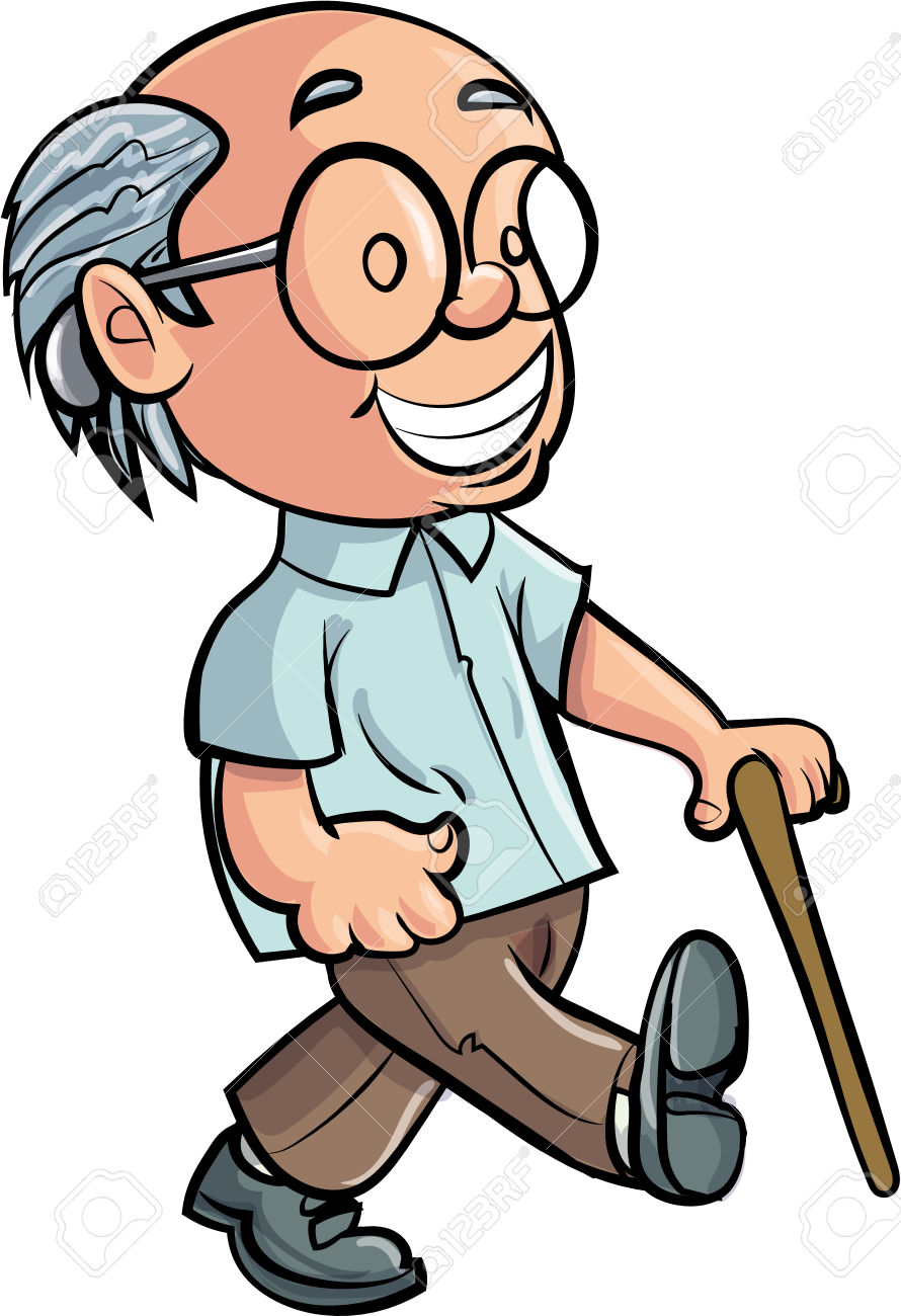 Cartoon Grandfather Walking With A Stick. Isolated Royalty Free.