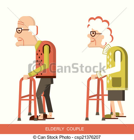 Vector Clipart of Elderly people with walking sticks.