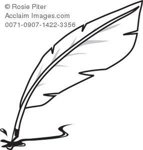 Clip Art Illustration Of A Quill Pen.