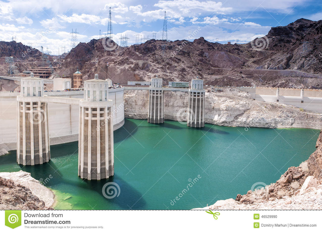 Hoover Dam And Penstock Towers In Lake Mead Of The Colorado Rive.